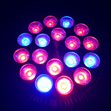 1pcs 12Red +6Blue Full Spectrum 18X3W 54W E27 AC85-265V High Power Led Grow light for Flowering Plant  Hydroponics System