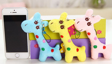 Kawaii Plush 3Colors- Stuffed Giraffe 8CM plush Toy Doll ; small String Pendant Toy Doll , gift key chain toys