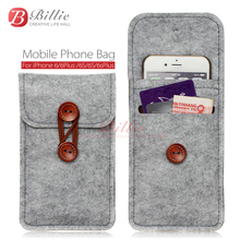 phone bag For iPhone 6s 7 Plus 5.5 inch case For iPhone 6 7 4.7 inch bags mobile phone bags cases Case Cover Wool Felt Wallet(China)