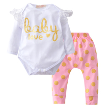 2017 Fashion Baby Girl Clothes Cotton Long Sleeve Letter Printed T-shirt+pants Infant 2pcs Suit Newborn Baby Clothing Set(China)