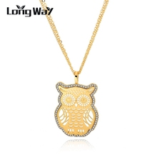 LongWay Cute Owl Necklaces Pendants With Austrian Crystal Gold Color Chain Long Necklace Summer Animal Jewelry SNE150887103(China)