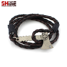 SHIJIE Long Leather Sports Charm Bracelets for Women Vintage Silver color Pirate Sign Axe Pendant Bracelet Men's Fashion Jewelry