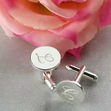 Personalized Sterling Silver Initial Letter Cufflinks Wedding Groomsmen Cufflinks Gift for Man