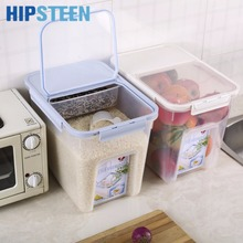 HIPSTEEN 10Kg Plastic Grain Rice Sealed Box Moistureproof Mothproof Cereals Beans Storage Container with Measuring Cup