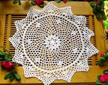 38CM Lace Round cotton handmade table place mat pad crochet cup mug pot holder trivet coaster placemat desk doily HOT kitchen