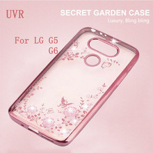 UVR For LG G6 Case Secret Garden Rhinestone Case Clear TPU Plating Phone Back Cases For LG G5 Cover G 5 6 Free Shipping