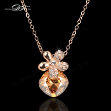 Shiny Crystal Flower cameo Chain Necklaces & Pendants Rose Gold Color Fashion Party/Wedding Jewelry For Women DFN186