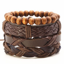 New Fashion Vintage Leather Rope Handmade Bead Woven Men Bracelets Women Bangles Female Homme Men Jewelry Accessories 4pcs/set