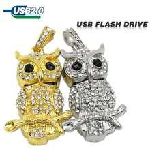 2015 Golden diamond Crystal owl Genuine Capacity USB Flash Drive Pen Drive for Gift Jewelry memory card U disk pendrive metal(China)