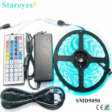 1 set SMD 5050 60 LED / M 5M RGB LED Strip tape string lighting Flashlight IP65 Waterproof strip+44 key Remote+5A Power Adapter