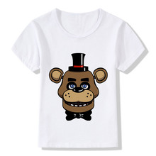 2017 Boys&Girls Summer Five Nights At Freddy's Character Print Funny T-Shirt Kids Baby Clothes Children CartoonTops Tee,HKP5015(China)