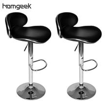 iKayaa 2 Pcs Bar Stools Black Bar Stools ES Stock