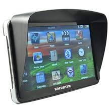 KMDRIVE 7 inch HD Touch Car GPS Navigation Sat Nav FM 8GB Bluetooth AV-IN Free Sunshade Bundle Latest maps
