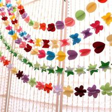 Bunting Hanging Garland Valentine Birthday Party Wedding Shower Room Decor Paper Heart Star Butterful Flower Circle String L50