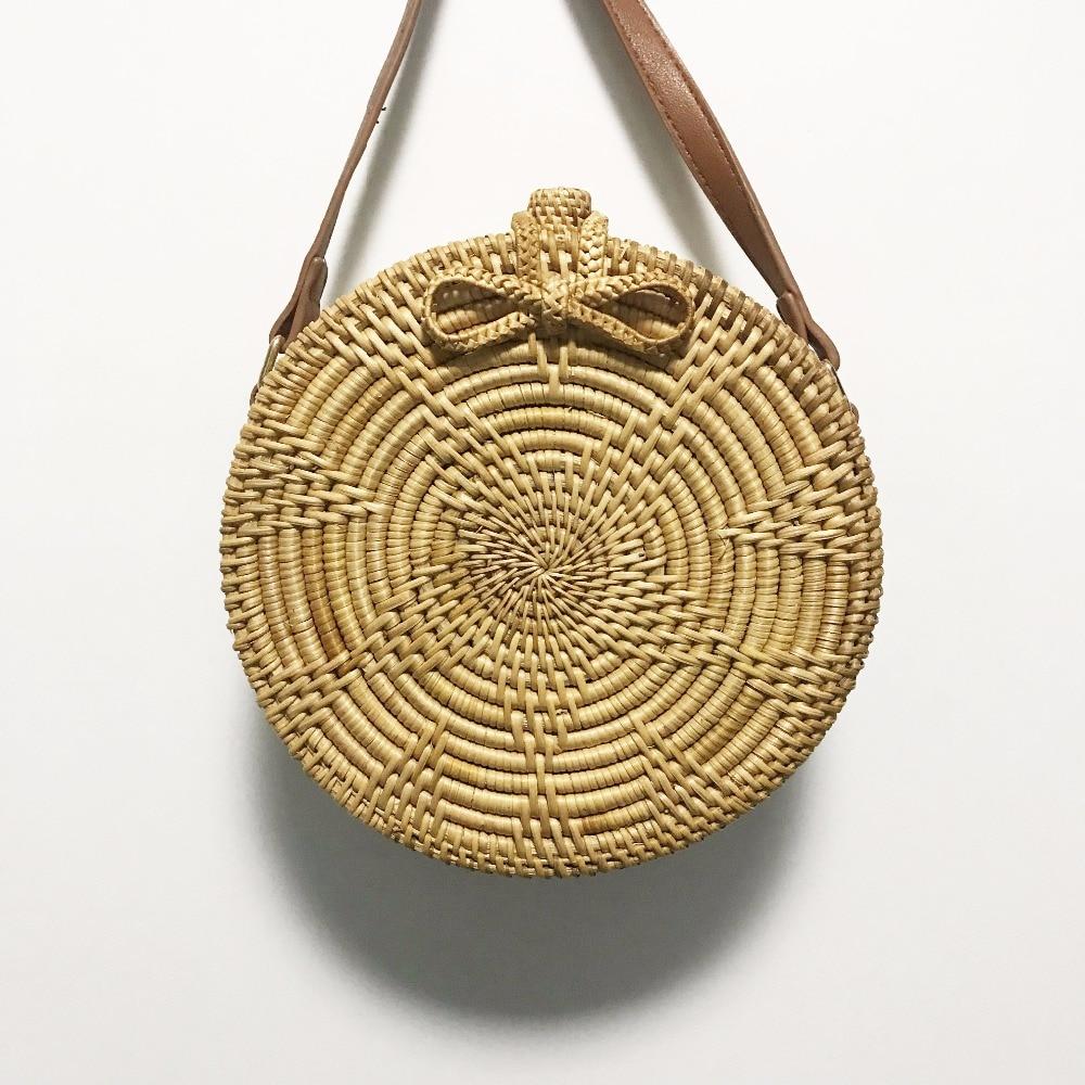 ZHIERNA Small Circle Straw Bags for Women Handmade Beach bag Summer Holiday Rattan Handbags Butterfly Women Messenger Bag<br>