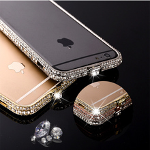 Buy Bumper iphone 7 Plus Metal Frame Case Luxury Aluminum Metal Bumper Bling Glitter Diamond rhinestone shinning Alabasta for $4.45 in AliExpress store