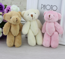 H-13cm Mixed colors Plush toys Joints Teddy Bear for cartoon bouquet/Wedding/Promotional Gifts,12pcs/lot