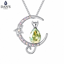 DAN'S Element Brand Hot 5 Colors Real Austrian Crystals Fashion Moon With Cat Pendant Necklace for Women Valentine Gift 127249