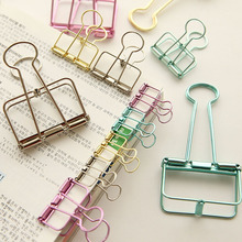 Cute Kawaii Colorful Metal Paper Clips For Photo Message Ticket File Office School Supplies Korean Stationery Free Shipping 670(China)