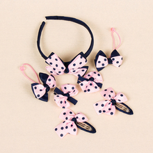1set=7pcs Headwear Set Children Accessories Printing Dot Bow Headband Hair clip Gum for Hair Hairband for Girls Headdress