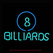 Ball Billiards Pool Neon Sign Store Display Handcrafted Neon Bulb Great Gift Real Glass Tube Advertise Signs Decorative 17x14(China)