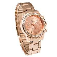 Geneva Bling Crystal Women Girl Watch Unisex Stainless Steel Quartz Wrist Watch Free&Drop Shipping