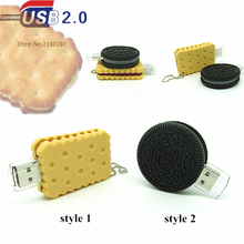 New biscuit shape USB Flash Drive candy pen drive cookie memory stick 4GB/ 8GB/16GB/32GB u disk 2 styles Oreo(China)