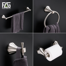 FLG Zinc-alloy 4PC/Set Bathroom Accessories Set Bath Hook,Towel holder,Paper Holder Bathroom Hardware Sets,Nickel Brushed G119-4(China)