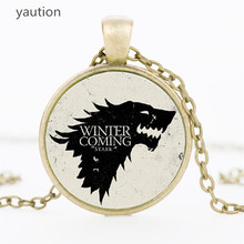 3 colors Movie Necklace Of Song Of Ice And Fire Game Of Thrones Stark glass wolf Pendant choker Necklace for men Jewelry