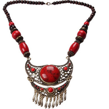 BONLAVE Retro Big Natural Red Stone Necklaces& Pendants Trendy Bubble Bib Choker Chunky Statement Necklace Women Jewelry