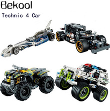 New Technology Record Breaker/Pull Back Motor/ Legaoe Quad Bike Car Model building block set Compatible 42033 42034 kid toys(China)