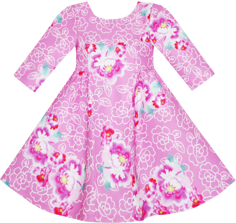 Sunny Fashion Girls Dress Pink Flower 3/4 Sleeve Autumn Winter 2017 Summer Princess Wedding Party Dresses Kids Clothes Size 4-10<br><br>Aliexpress