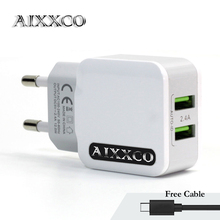 AIXXCO 5V 2.4A Universal USB Charger,Bastec Smart Travel Adapter Wall Portable EU Plug Mobile Phone Charger for iPhone Samsung(China)