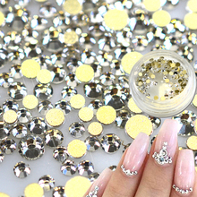 1 box 120pcs SS3-10 Nail Rhinestones Gold Flatback Crystal White Clear Glass Gem Diamond for DIY Nail Art Decorations TRND283