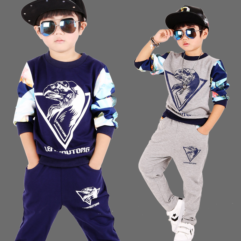4 6 8 10 12 years boys hip hop clothing spring models   kids sport suit long - sleeved cotton sweater T - shirt sportswear<br><br>Aliexpress