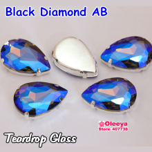 All Sizes Black Diamond AB Teardrop Droplet Glass Sewing Stones with Claw Setting Pear Shape Sew-On Rhinestones Y3584