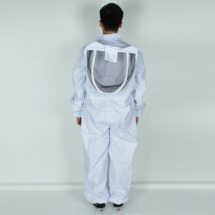 Aolamegs-Apiarist Beekeeping Suit-White-(All-in-One)-Fencing Veil-Total Protection for Professional & Beginner Beekeepers (7)
