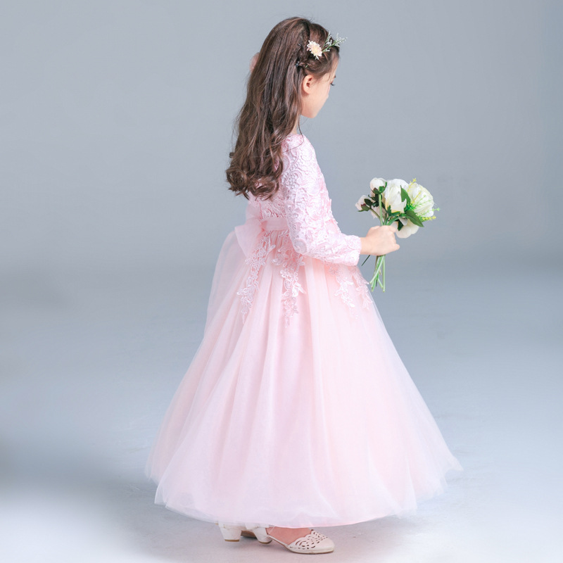 Formal-Wedding-Party-Baby-Girls-Dresses-2018New-Kids-Clothes-Solid-Brief-Cute-Lace-Princess-Ball-Gown (4)