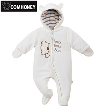 Baby Rompers Bear Infant Bebe Boys Girls Jumpsuits Cartoon Newborn Pajamas Warm Overalls Costumes Spring Baby Sleepers Clothes(China)