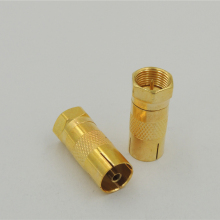 Gold plated F Type Male to TV PAL Female PLUG Adapter Antenna RF Coax Coaxial cable Connector