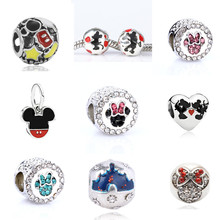 Silver Plated European Mickey & Minnie Charms Beads Fit Pandora Bracelets & Necklaces DIY Accessories Precious Gifts HOT SELL
