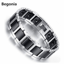 Begonia Fashion Black Ceramic Bracelet Mens Stainless steel Health Balance Bracelet With Energy Magnetic Stone Inlay Jewelry