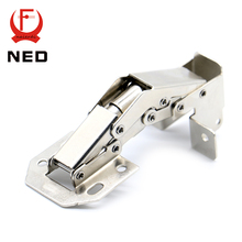 NED-A101 90 Degree 4 Inch No-Drilling Hole Cabinet Hinge Bridge Shaped Spring Frog Hinge Full Overlay Cupboard Door Hinges(China)