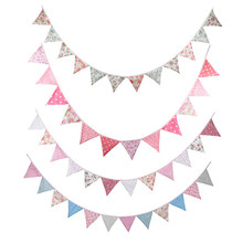 New 4 color Colorful Fabric Flags Banners Wedding Decor Bunting Party Garland Decoration  Garland Baby Shower/Outdoor Tent Decor
