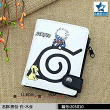 Anime Naruto Shippuden PU White Short Zero Wallet/Kakashi & Symbol Of Hidden Leaf Village Coin Purse with Interior Zipper Pocket