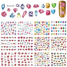 12 Designs/Sets Fashion 3d Sexy Diamond Red Lips Pattern for Nail Sticker Nail Art Decals for UV Gel Polish Tools BN577-588