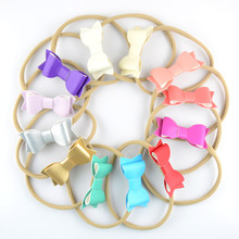 Princess bows nylon headband Faux Leather Hair Bow for girl hair accessories Glitter Fabric Bow hairbands 360pcs/lot(China)