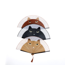 Japanese Silk Hand Fan Painted Cartoon Cat Folding Fan Kawaii Pocket Fan Wedding Party Favors Decorations Supplies Creative Gift