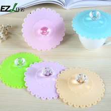 EZLIFE Hot Sale Colorful Lace Dustproof Leakproof Cup Lid Reusable Silicone Diamond Cup Lid Insulation Cup Cover Lid ZH01729