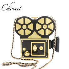 Personality Vintage Vidicon Funny Evening Bags Luxury Handbag Projector Shoulder Bag Designer Clutch Purse Chain Crossbody Bag(China)